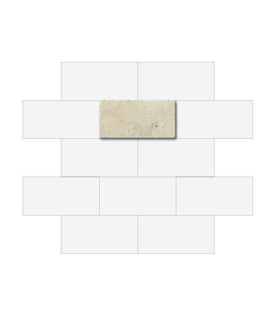 "Ivory Travertine 3"" x 6"" 1"