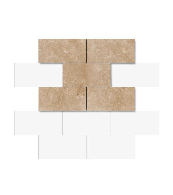"Walnut Travertine 3""x 6"" 1"
